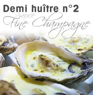 Nouveauté chez Sorescol. Demi huître n°2  sauce Fine Champagne